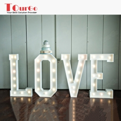 TourGo 2ft Metal Marquee light up letter with neon letter lights and LED lights