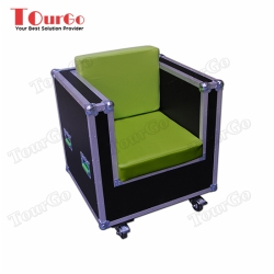 TourGo Single Seater Wood and Green Leather Sofa