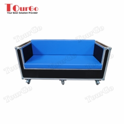 TourGo 3 Seater Wood and Leather Sofa with Corporate Branding