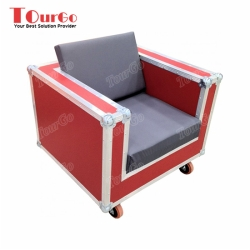 TourGo Custom Removable 1 Seater Furniture Sofa Road Case With Red Color