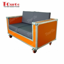 TourGo Custom Mobile 2 Seat Sofa Flight Case With Yellow Color