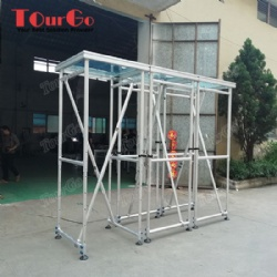 Customize Transparent Acrylic Four Legs Aluminum Stage With 2.5 Height